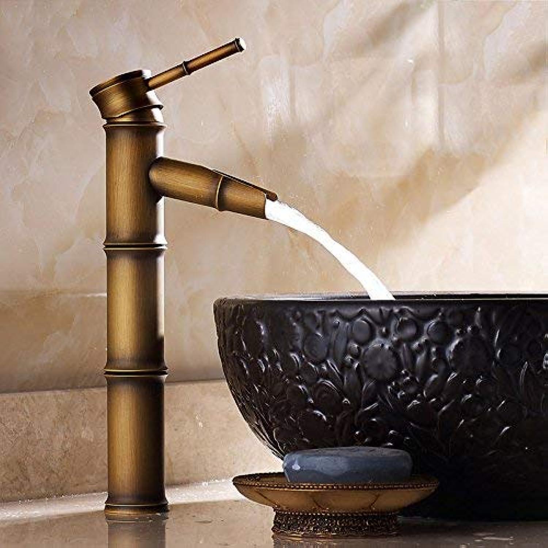Oudan Basin Mixer Tap Bathroom Sink Faucet Antique brushed full copper single handle single hole bamboo basin mixer