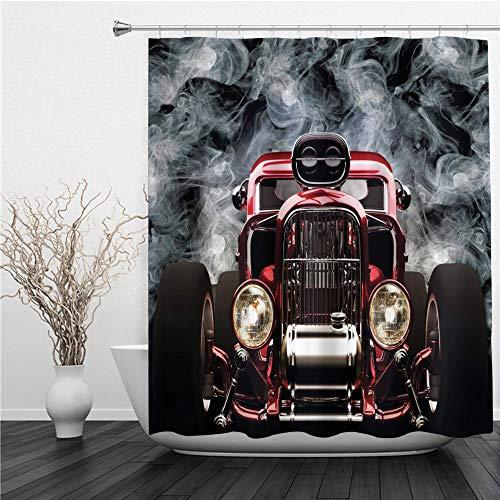 SUHETI Duschvorhang 180x180cm,Klassisches Auto Cooles Oldtimer Fahrzeug mit Rauch Hintergrundgeschwindigkeits Aufregungsthemen,Duschvorhang Wasserabweisend-Duschvorhangringen 12 Shower Curtain mit