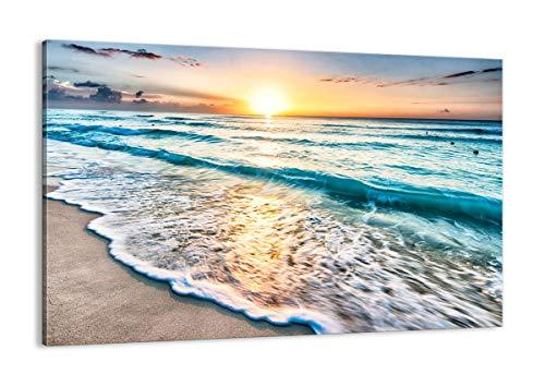 Cuadro sobre lienzo - Impresión de Imagen - mar ola playa - 120x80cm - Imagen Impresión - Cuadros Decoracion - Impresión en lienzo - Cuadros Modernos - Lienzo Decorativo - AA120x80-3621