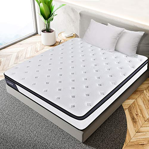 WINOMO Mattress Memory Foam Pocket Sprung Mattress High Density Foam Bed Sleeping Cushion Flame Retardant Soft Comfotable Mattress (Shipping from UK, Delivery Within 3-6 Working Days)