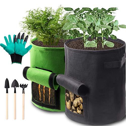 Hiveseen BolsaparaPlantas, 45.5L + 31.8L Bolsa de Cultivo con 3 útiles, Plantas Maceta de Tela no Tejido Respirable con Ventana para Patatas Cebollas Rábanos Zanahoria (10 Gallons + 7 Gallons)