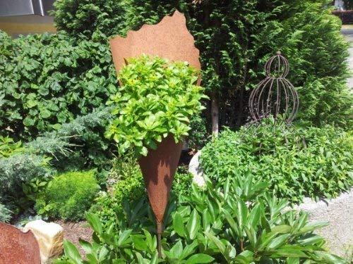 Rostikal | Edelrost Pflanztüte 60 cm | Gartenstecker, handgefertigte Rosttüten zum Bepflanzen