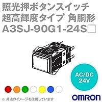 オムロン(OMRON) A3SJ-90G1-24SR 形A3S 照光押ボタンスイッチ 超高輝度タイプ (角胴形) (赤) NN