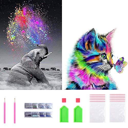 Juego completo de pintura de diamante 5D, kit completo de pintura de diamante para hacer tú mismo (2 piezas), elefante y gato, 30 x 30 cm + 30 x 40 cm)