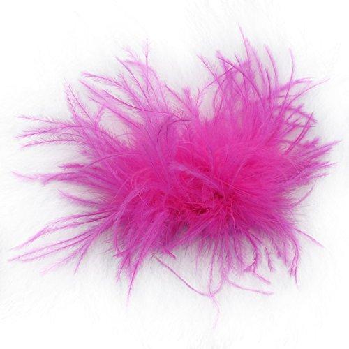 Ostrich Feather Puff Princess Dress-Up Hair Bow Clip (Hot Pink)