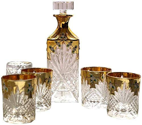 Decantador de whisky hecha a mano / de cristal (800 ml) y conjunto de 6 gafas (290 ml), cristal libre de plomo 'Hobart para espíritus, bourbon o escocés sin dilución, regalo de cumpleaños / Código de