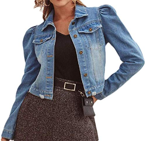 Women Fashion Long Sleeve Cotton Button Up Denim Jacket,Blue,Small