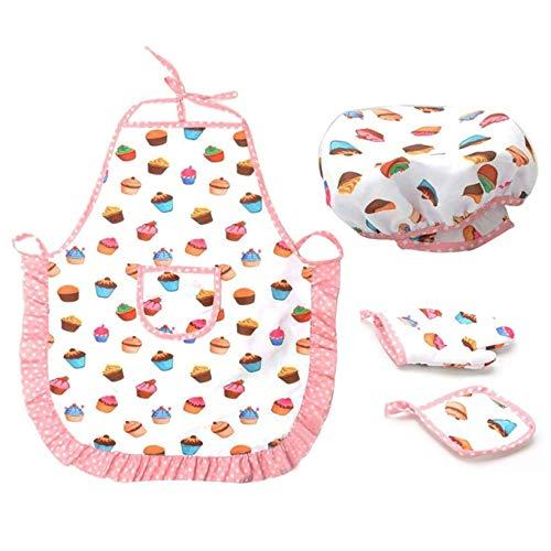 JKLBNM 4-teiliges Kochset für Kinder Verstellbare Kochschürze Kinderkochhandschuh Hitzebeständige Matte Kinderkochmütze Kinderkochset Anzieh-Set Kostüm Küchenzubehör für Jungen Mädchen Geschenk