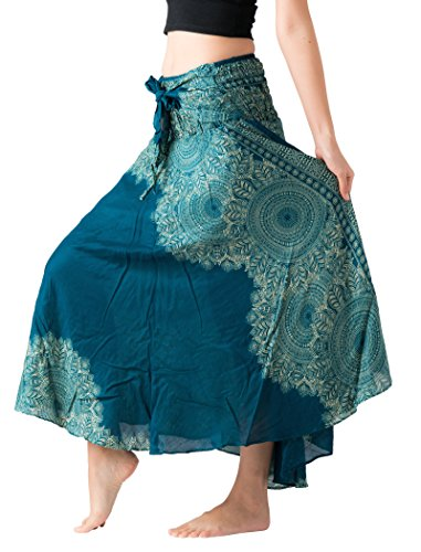 B BANGKOK PANTS Women's Long Maxi Skirt Hippie Bohemian Gypsy Dress Boho Clothing Party Dress Beach Wear Asymmetric Hem (Hippierose Green, One Size)