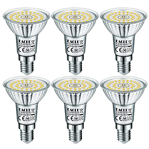 EACLL Ampoules LED E14 Blanc Neutre Source de lumière 6W 4000K 820 Lumens, Équivalent incandescence halogène 65W. R50 Lampe à économie d'énergie, 120° Spots à Réflecteur Sans Scintillement, Lot de 6