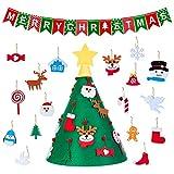 MELLIEX Árbol de Navidad de Fieltro DIY con 18 Adorno de Navidad Árbol de Navidad 3D extraíble para Niños Colgar de La Pared para La Casa Puerta Tienda Ventana Decoración