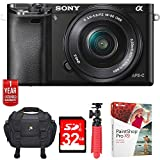 Sony ILCE6000L/B Alpha a6000 Mirrorless Digital Camera with 16-50mm Lens Bundle with 1 Year Extended Coverage, 32GB Memory Card, Tripod, Paint Shop Pro 2018, Camera Bag and Accessories (8 Items)