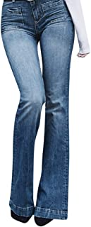 Qootent Women Flare Pants Jeans Plus Size Casual Pocket Zipper Denim Trousers