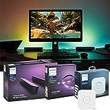 Philips Hue Desktop Gaming Set - Play Doppelpack, schwarz& LightStrip Plus 2 Meter &. Bridge   RGBW Beleuchtung für Schreibtisch und Monitor, kompatibel mit Razer Chroma   Ambilight, App-Steuerung