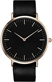 South Lane Stainless Steel Swiss-Quartz Watch with Leather Calfskin Strap, Black, 20 (Model: SS20-dr1-4600)