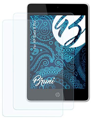 Bruni Schutzfolie kompatibel mit HP Slate 8 Pro Folie, glasklare Bildschirmschutzfolie (2X)