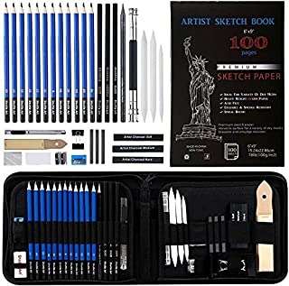 Drawing Set - Sketching, Graphite and Charcoal Pencils. Professional drawing Pencil kit, Art Kit and Supplies for Kids, Te...