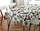 Mantel Hule PVC Rectangular 140x240cm - Impermeable - Uso Interior y Exterior - Original 100% - Motivos Flores Tropicales Rosas y Negras - Antideslizante - Borde Ribeteado