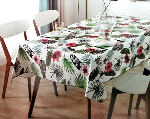 Tovaglia in tela cerata in PVC, rettangolare, 140 x 240 cm, impermeabile, per uso interno ed esterno, originale 100% – motivi floreali tropicali rosa e neri – antiscivolo – Bordo bordato.