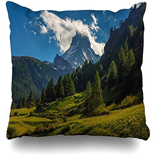 UQ Galaxy Kissenbezug,Grüne Malerische Aussicht Mount Cervino Zermatt Berg Schweiz Natur Alpen Parks Cloud Europe Design Natürliche Kissen Mit Reißverschluss Fall Home Decor Kissenbezug 50 * 50Cm