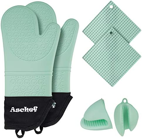 6in1 Silicone Oven Mitts Kit Heavy Duty Cooking Gloves Kitchen Counter Safe Non Slip Grip Textured product image