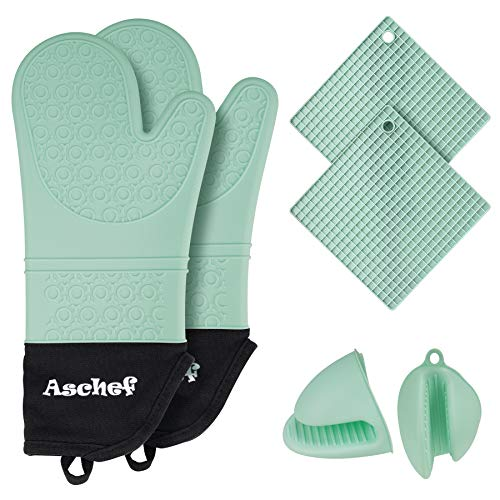 6in1 Silicone Oven Mitts Kit, Heavy Duty Cooking Gloves Kitchen Counter Safe Non-Slip Grip Textured Trivet Mats Advanced Heat Resistance Pinch Mitts w/ Soft Inner Lining for Cooking & Baking Grilling