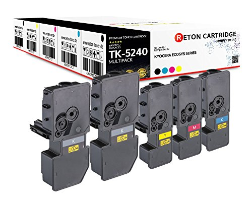 5 Original Reton Toner | 50{af1d194a65894f36b443898f135fdc3879bf5781c540f0a02b7ceb85178a2ffa} höhere Druckleistung | kompatibel zu Kyocera TK-5240 für Kyocera ECOSYS M5526cdn, M5526cdw, P5026cdn, P5026cdw