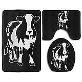 DFHome Juegos de Alfombrillas de baño de 3 Piezas Holstein Cow Fashion Bath Mat Set 3 Pieces Indoor Decor Bathroom Rug Set Contour Mat Toilet Seat Cover