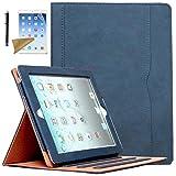 Case for iPad 2 / iPad 3 / iPad 4, Lingsor Multi-Angle Viewing Stand Folio Cover w/Pocket, Fit Model A1395 A1396 A1397 A1403 A1416 A1430 A1458 A1459 A1460, Magnetic Smart Auto Wake/Sleep, Royal Blue