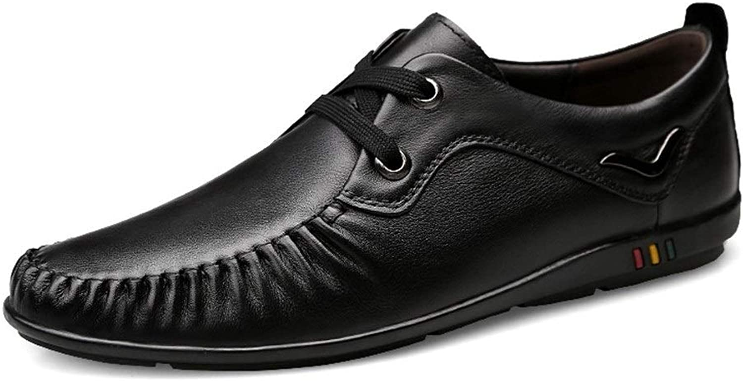 DorisAA-MS Men Leather Loafer shoes Business Penny Loafers For Men Leather Anti-slip Lace Up Flat Slip-on Dress Wedding Dating Driving shoes Loafer shoes (color   Black lace-up, Size   9 UK)