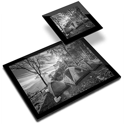 Destination Vinyl ltd Glass Placemat 20x25 cm & Coaster 10x10 cm BW - Camping Family Tent Camp Site Workplace/Table Mat/Mousepad/Wipeable/Waterproof #37389