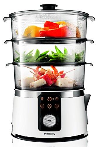 Philips HD9170/00 - Vaporera eléctrica de cocina, 1350 W, color blanco y transparente