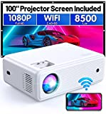 Mini Projector, CLOKOWE Native 1080P HD 8500 LUX WiFi Movie Projector Support...