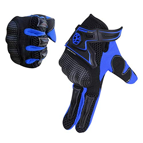 SCOYCO Motorcycle Gloves Summer,Full Finger Ventilate Microfiber Knuckle Prective Breathable Riding Gloves for Scooter/ ATV/ Moto (Blue,XL)