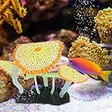 KUIDAMOS Decoración de anémona de mar Luminosa Plantas de Acuario de plástico con Efecto Luminoso Especial para Regalos para pecera(Orange)