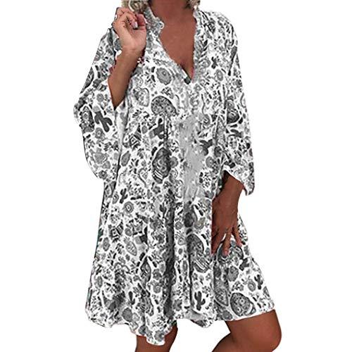 routinfly Damen Freizeitkleid Cocktailkleid,2019 neu Kleider Abendkleid Shirtkleid Langärmliges weites bedrucktes Damenkleid Langärmliges Minikleid mit V-Kragen und Knöpfen S-5XL