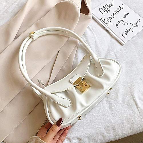 LOH Solide Couleur Sacs en Cuir Femme Sacs à Main d'été Femmes Voyage chaîne épaule Sacs à Main, Blanc, 26 cm x 13 cm x 9 cm