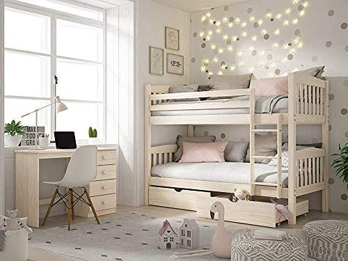 Dos camas son de rejilla de madera, literas de madera sólida, adecuada para la habitación de los niños con literas,Wood color