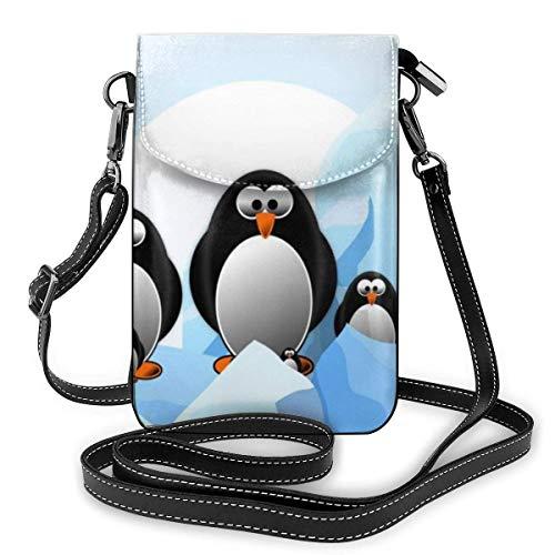 Handy Geldbörse Crossbody Pinguin Antarktis EIS Frauen Pu Leder Mode Handtasche mit verstellbarem Riemen