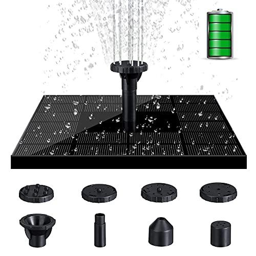 LIUMY 4W Solar Springbrunnen, Solarenergie Ersparnisse Wasserpumpe elektrische Energie speichern, mit 6 Fontänenstile schwimmender Teichpumpe für Garten, Vogel-Bad, Fisch-Behälter