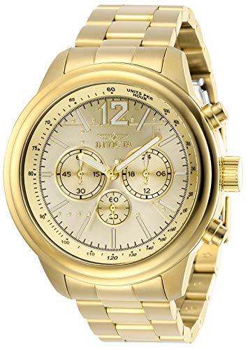Invicta Aviator 28898 - Reloj de cuarzo para hombre con correa de acero inoxidable, color dorado
