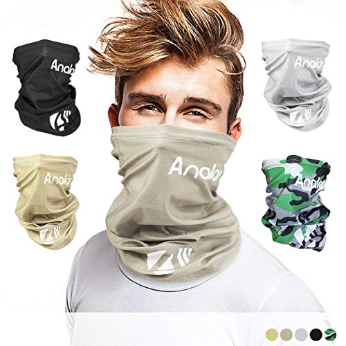 ANALAN Half Face Cover Bandana Neck Gaiter Sun Protection Headwear for Men and Women Girls Boys Outside Sports (Desert Grey)