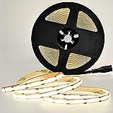 COB LED Strip Lights, Flexible COB LED Light Strip 480LEDs/M, 5m/16.4FT DC12V 4000K CRI 90+ LED Tape Light 9W Power Supply for Home, Bedroom, Kitchen Decoration, DIY Lighting (DC 12V 5m/16.4FT)