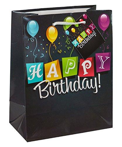TSI 84014-6 Geschenkbeutel HAPPY BIRTHDAY black, 3er Packung, Größe: Mittel (23 x 18 x 10 cm)