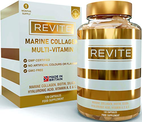Marine Collagen Capsules 2000mg, Hyaluronic Acid, Silica, Biotin, Vitamin A, E & C Hair, Skin, Nails & Joint Support Tablets Natural Peptide Multivitamin Supplement