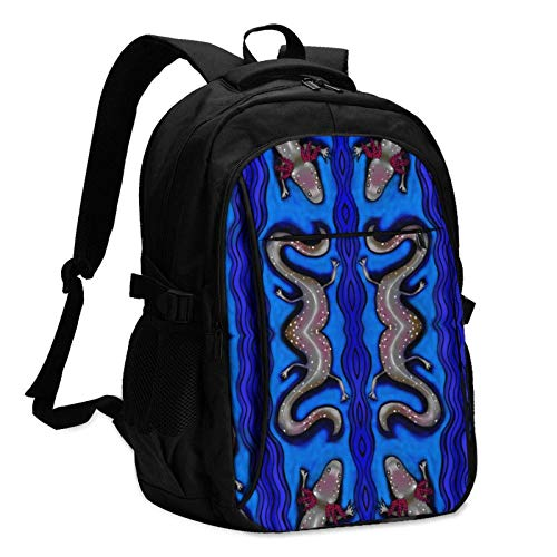 XCNGG Salamander Stripe Unisex Travel Laptop Backpack with USB Charging Port School Anti-Theft Bag