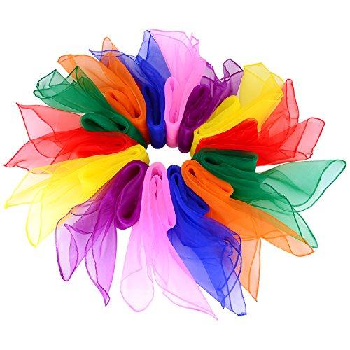 Outus 14 Piezas Bufandas de Baile Pañuelos de Colores de Malabares Bufandas de Banda Rítmica, Cuadrados