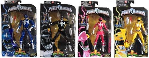 "Power Rangers Mighty Morphin 6.5"" Blue, Black, Pink & Yellow Ranger Action Figure Bundle"