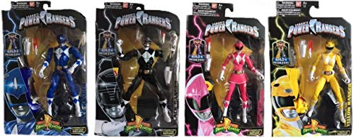 "Power Rangers Mighty Morphin 6.5"" Blue, Black, Pink & Yellow Ranger Action Figure Bundle"