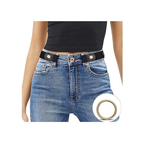 JasGood Ceinture élastique sans boucle pour femme et homme - Plus grande taille - Sans boucle - Ceinture invisible pour pantalon en jean - Noir - Taille : 60-85 cm